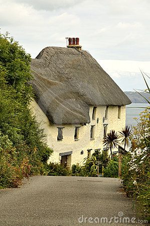Cornwall - thatched cottage in Church Cove. Anns Pasties is just up the road from here, making some of the best pasties in Cornwall