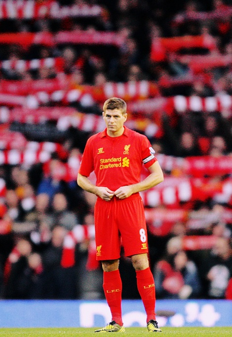 Captain Fantastic Steven #Gerrard prepares himself to face Newcastle at Anfield #LFC