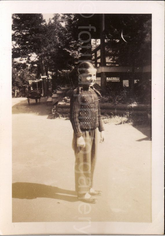 Vintage Photo Young Girl With Braids Black & by foundphotogallery