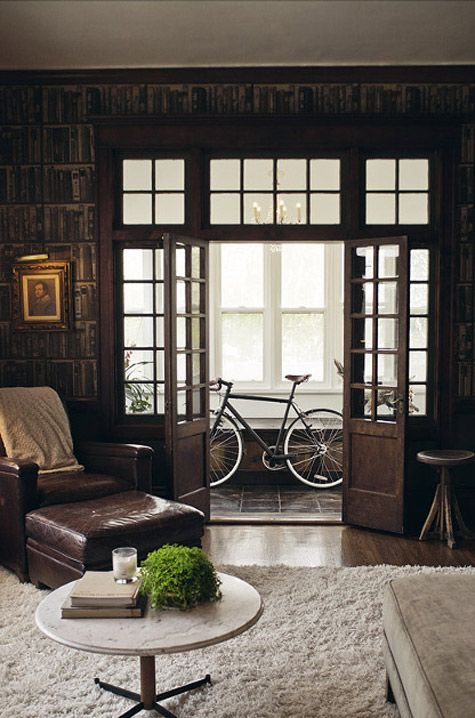 Neutral tones: The Doors, Dark Rooms, Living Rooms, Home Libraries, French Doors, Wooden Decor, Club Chairs, Glasses Doors, Victorian Houses