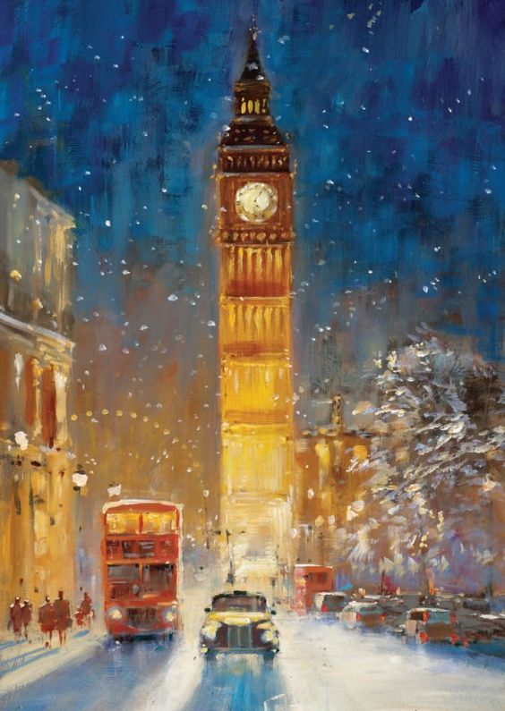 Big Ben in Winter ~ artist John Haskins: