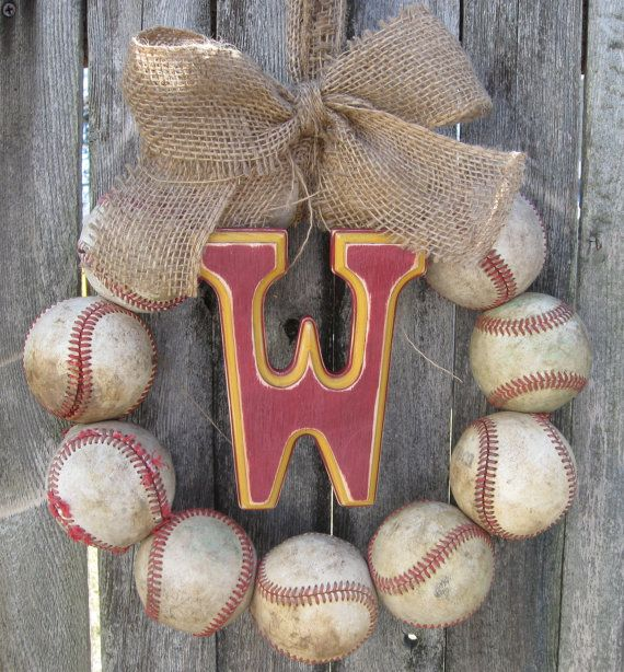 Burlap Baseball Love Wreath with Distressed Letter. great idea for a guys apartment door