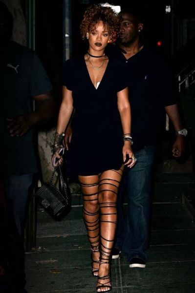 rihanna // strappy sandals //