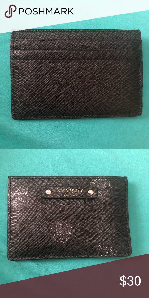 Kate Spade credit card holder Black with gold glitter.. holds up to 5 credit car…