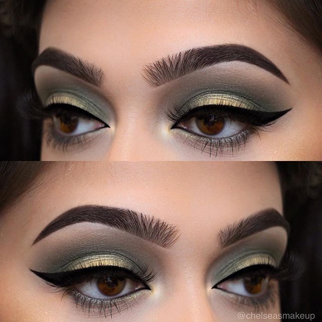 """🎄🎁 Brows: @anastasiabeverlyhills • Dipbrow pomades in """"Ebony"""" and """"Dark Brown"""" EYES: @anastasiabeverlyhills • individual eye shadows (Brow bone- """"lace"""", Crease- """"moss"""", Lid- """"noir"""" with """"black diamond"""" overtop) Liner: @anastasiabeverlyhills • waterproof cream colour in """"jet"""" Lashes: @luxylash in """"keep it 100"""" Used @anastasiabeverlyhills brushes A7, 18, A26, A5, A27, A6, A25, and A28  #makeup #instamakeup #cosmetic #cosmetics #mua #fashion #eyeshadow #lipstick #gloss #mascara #palettes…"""