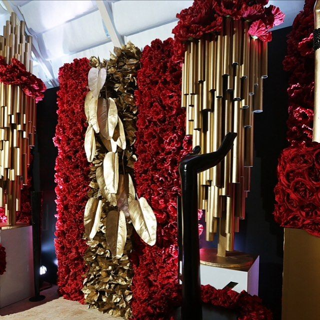 Gorgeous red and gold photo backdrop photo booth