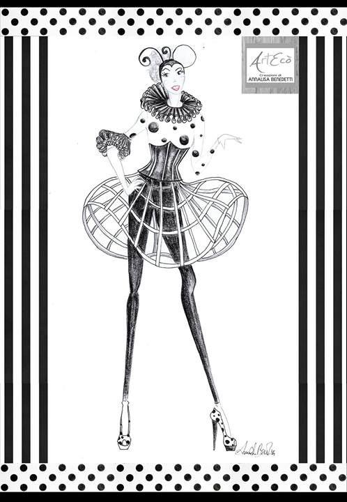OPTICAL CIRCUS - Fashion Illustration By ArtEcò Creazioni di Annalisa Benedetti #fashion #illustration #artecOcreazioni #annalisabenedetti #style #costume #handmade #madeinitaly #fashion #illustation  #circus #costume #carnevale #bozzetto #optical #fantasy #style