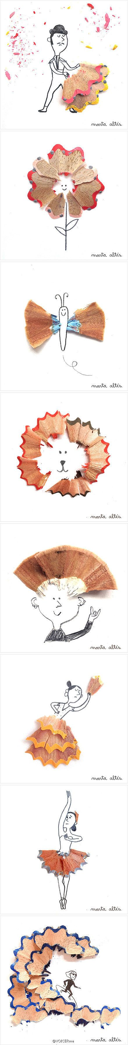 haha interesting way of incorporating pencil shavings with art!