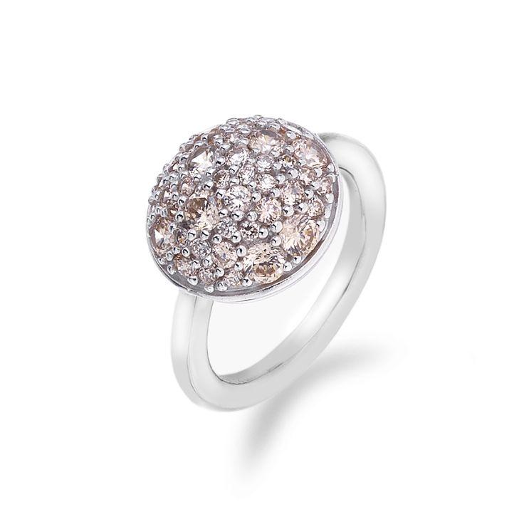 Stříbrný prsten Hot Diamonds Emozioni Bouquet Champagne