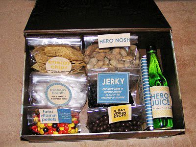 """long distance relationship idea -- send a cute personalized box of """"superhero"""" food to the superhero in your life :) also LOVE this blog, its by a group of women and it has a lot about keeping relationships fun!"""