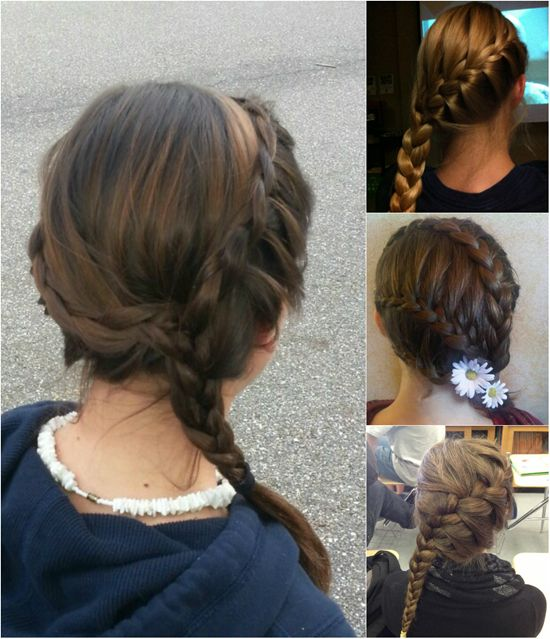simple and easy braided hairstyle for girls by clip in 22 inch straight brown real hair extensions