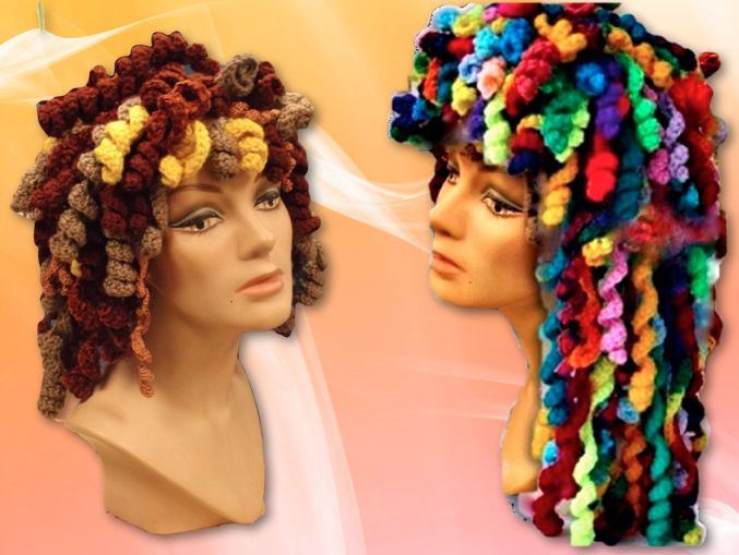 Happy Hair Hat Crochet Wig Pattern. Fun, easy beginners pattern with lots of descriptive pictures. Use your yarn leftovers to arrange your long or short crochet curls. Make it all one color or use variegated yarn. Create as you wish to turn some heads with this hat. This hat makes Chemo patients smile, gives you the edge to disguise a bad hair day or just simply feel happy and carefree as a Hippy wearing these bouncing curls.