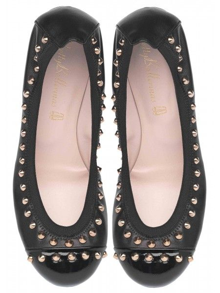 Shirley Black Leather with Patent Toe and Studs @ www.prettyballerinas.us.