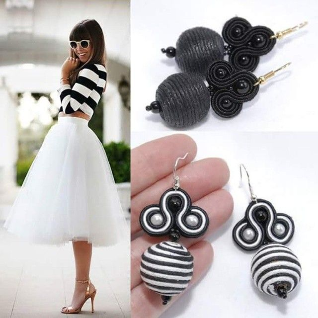 Soutache earrings black and white stripes
