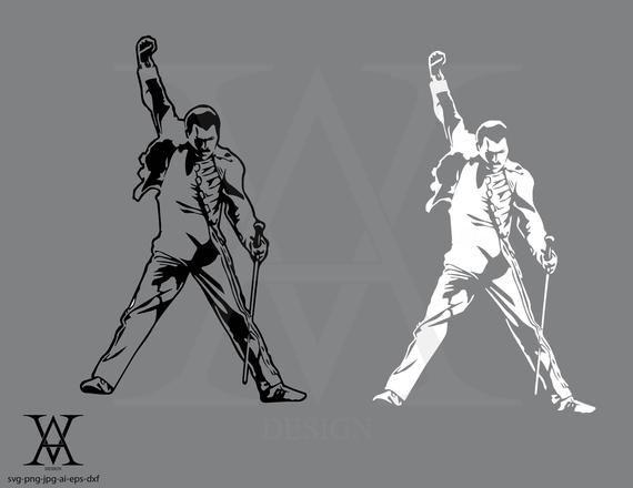 Freddie Mercury Silhouette Vector Instant Download Etsy Silhouette Vector Freddie Mercury Mercury