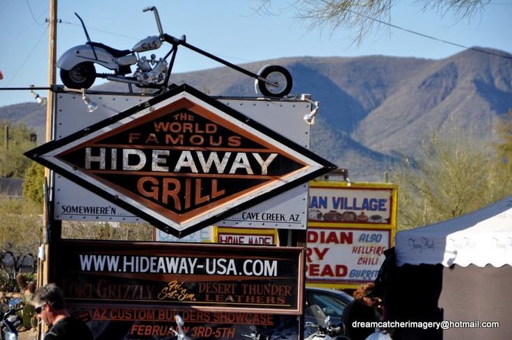 The World famous Hideaway Grill...somewhere in Cave Creek, AZ.  !