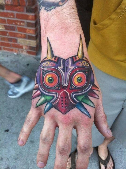 Majoras Masks Tattoo  Tattoo Ideas  Cartoons Tattoo  Nerd TattooMajoras Mask Tattoo