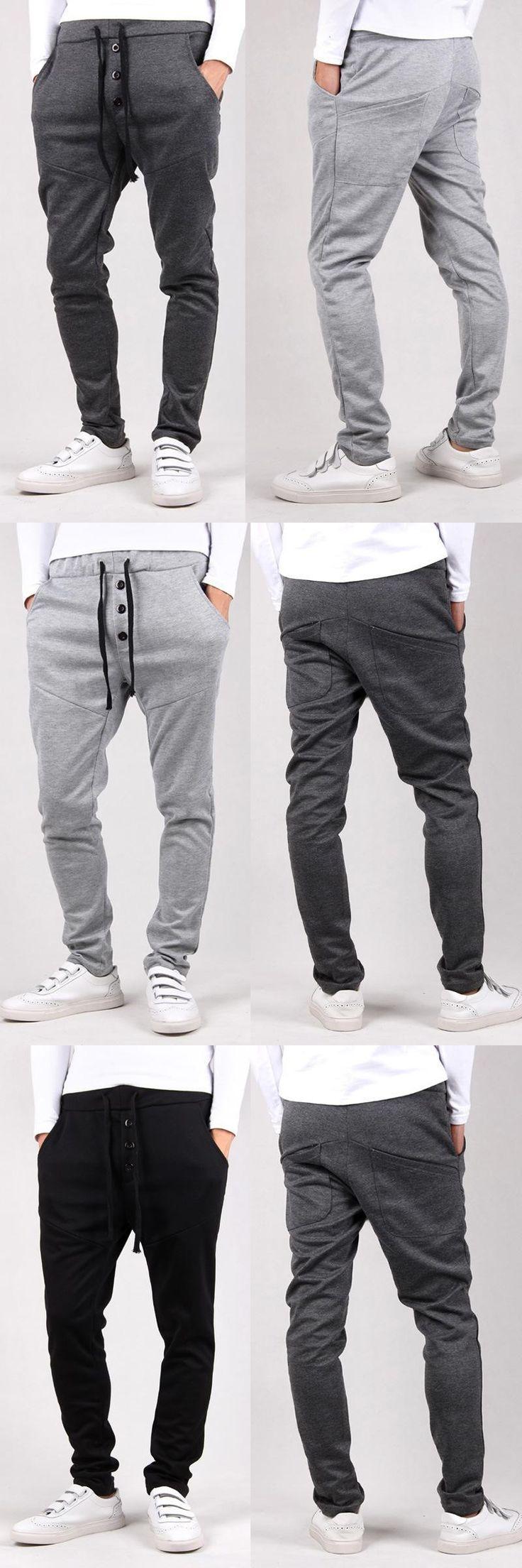 men jogger sweat harem pants plus big size boy three buttons  fashion draw cord pants for men free shipping