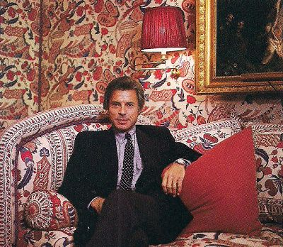 Braquenie fabrics surround Francois Catroux, in the Paris home of Beatriz Patino, which Catroux decorated