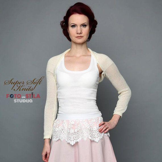 Ivory Wedding Shrug Wedding Bridal Bolero by supersoftknits