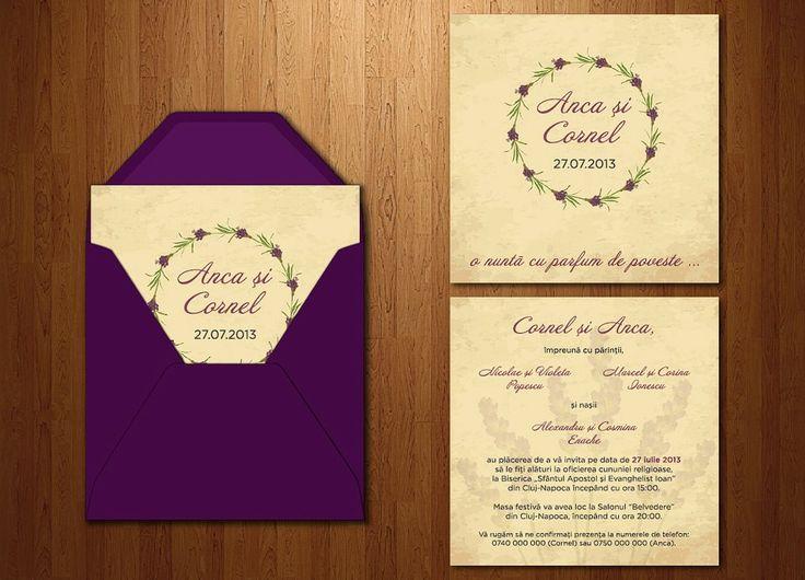 Invitație cu lavandă pentru o nuntă rustică (dimensiuni 14,5 x 14,5 cm).