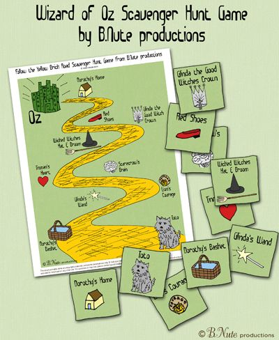 bnute productions: Free Printable Wizard of Oz Scavenger Hunt Game