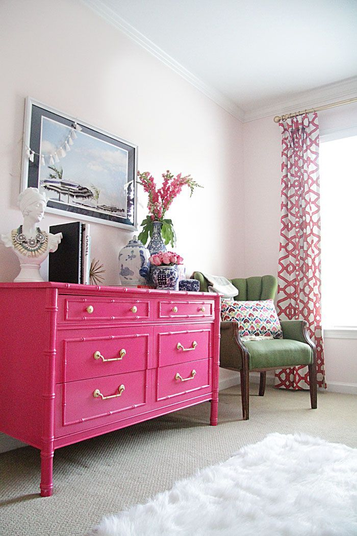 Guest Bedroom   Bright Bedroom   Floral Pillows   Embroidered Pillow   Pink Chest   Bamboo Dresser   Be Our Guest   DIY Project www.styleyoursenses.com
