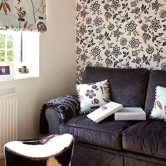 wallpaper living room ideas for decorating. Monochrome living room with feature wallpaper The 25  best Feature ideas on Pinterest