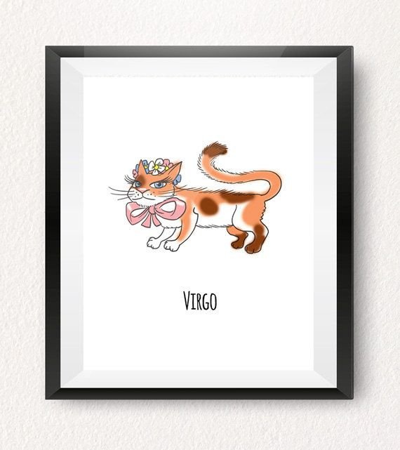 VIRGO CAT ART PRINT (August 22 to September 22)  This Virgo cat printable is part of our one-of-a-kind Cat-strology collection! All of our cat illustrations make fun wall decorations for your home, office or a kids room! Treat yourself or give them as a gift to someone special born under this horoscope sign!