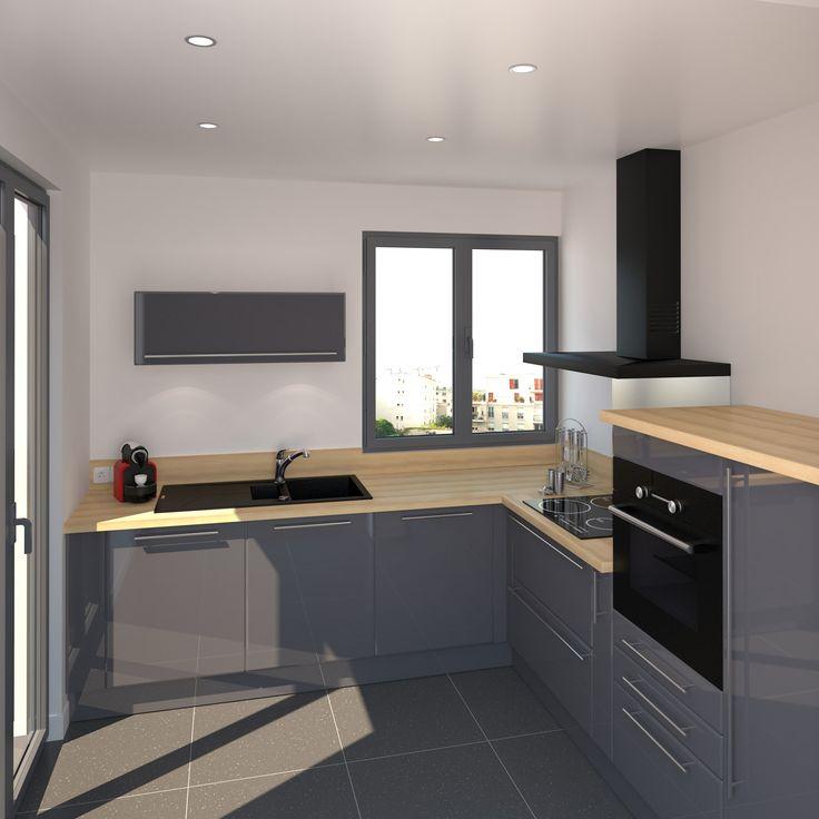 Petit coin cuisine meubles couleur bleu gris et finition brillante plan de travail en