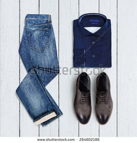 collage of modern men's clothing on a white wooden background