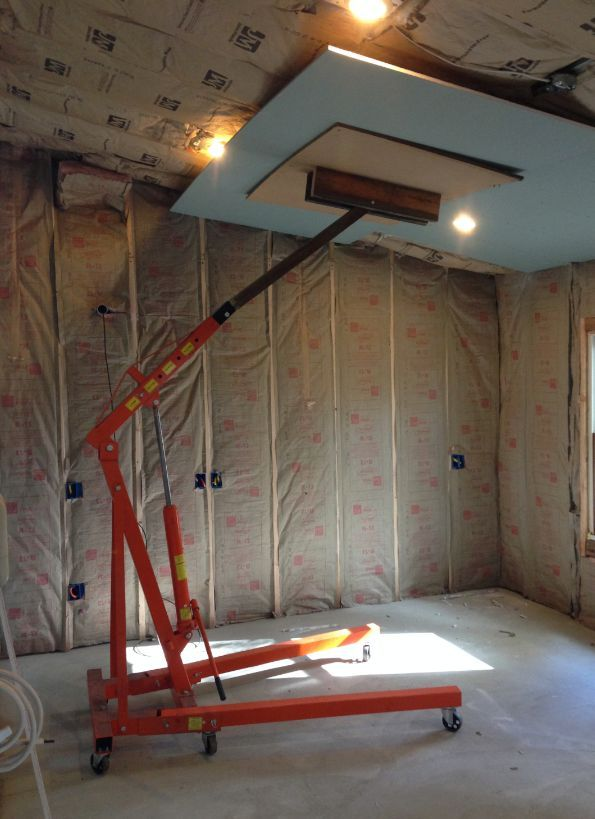 Drywall Lift by Motronic -- Homemade drywall lift constructed from a cherry  picker, bar
