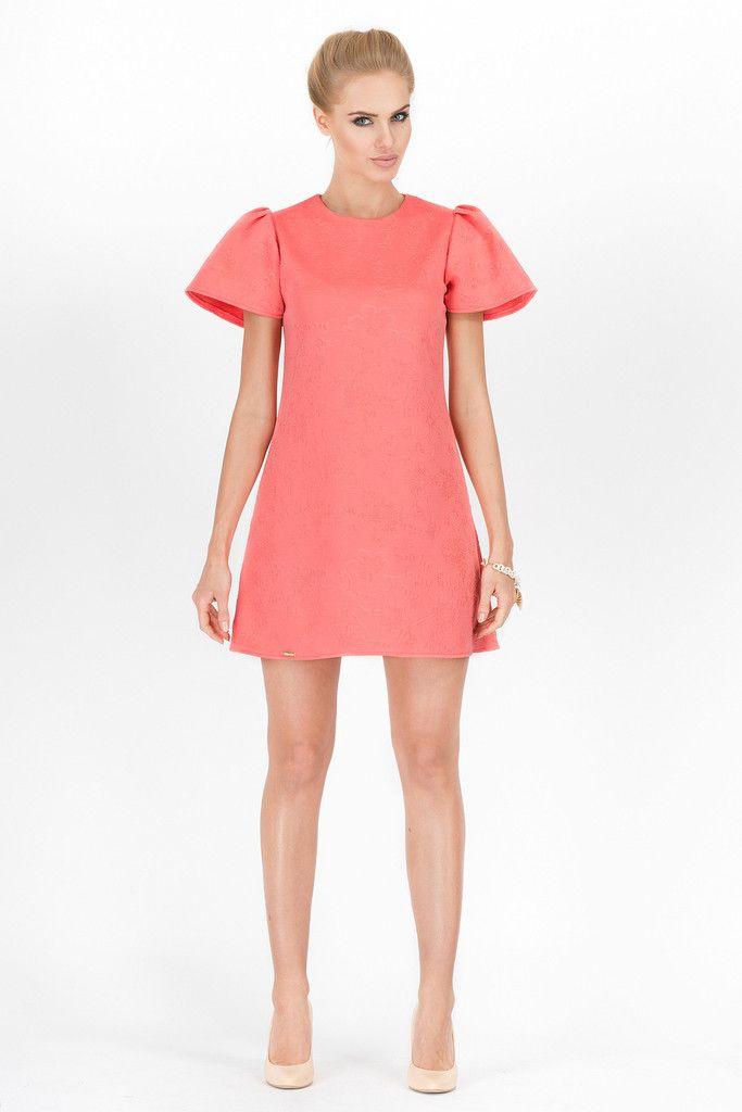 Elegant Coral Mini Dress – Kiss and Belle Boutique