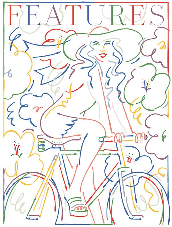 Drawing of a Dutch girl for WWD by Jordy van den Nieuwendijk.