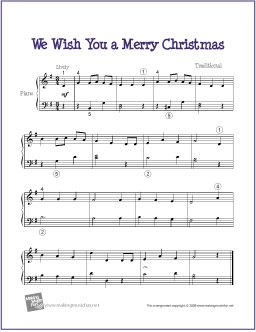 We Wish You A Merry Christmas | Easy Sheet Music for Piano - http://makingmusicfun.net/htm/f_printit_free_printable_sheet_music/we_wish_you_a_merry_christmas_piano.htm