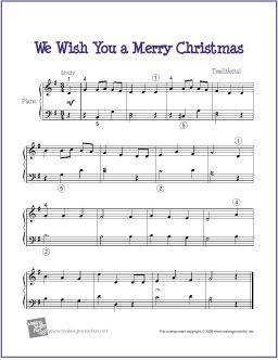 We Wish You A Merry Christmas   Easy Sheet Music for Piano - http://makingmusicfun.net/htm/f_printit_free_printable_sheet_music/we_wish_you_a_merry_christmas_piano.htm