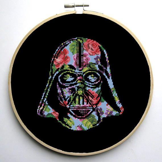 Star Wars Cross Stitch PDF pattern Floral Darth Vader Helmet