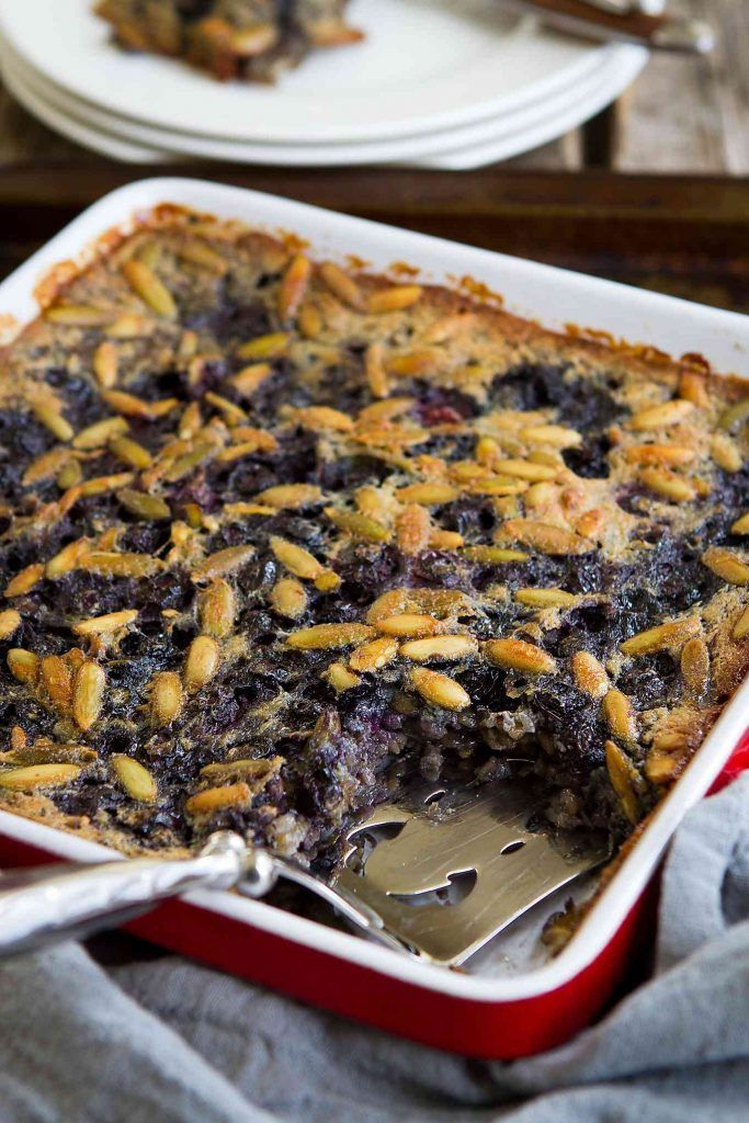 Blueberry Baked Oatmeal is a great option for make-ahead breakfasts. Substitute any nuts and fruit you like and top it with a drizzle of maple syrup. 168 calories and 4 Weight Watchers Freestyle SP