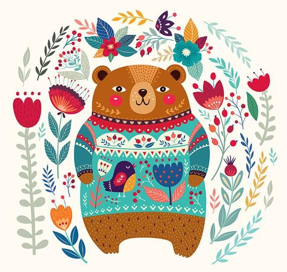 Cute Bear in a beautiful sweater and floral background. Fine Art PRINTS. Beautiful print for living