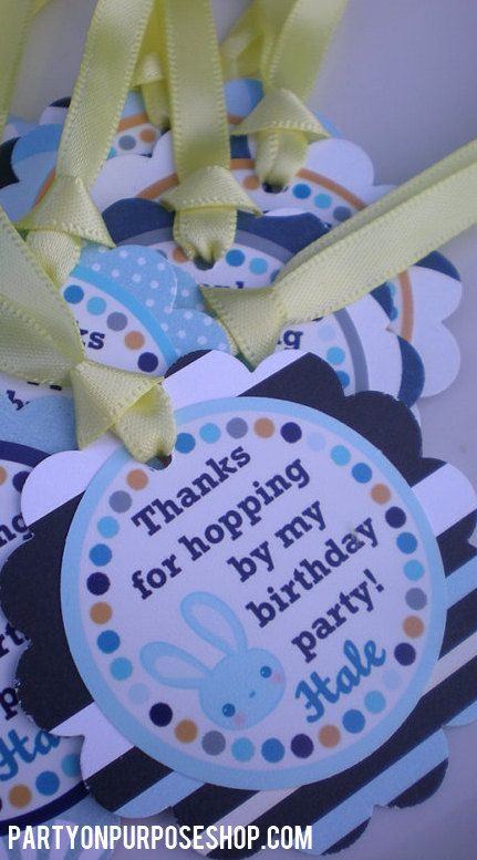 Bunny Birthday Party Decorations  Thank You by PartyOnPurposeShop, $12.00
