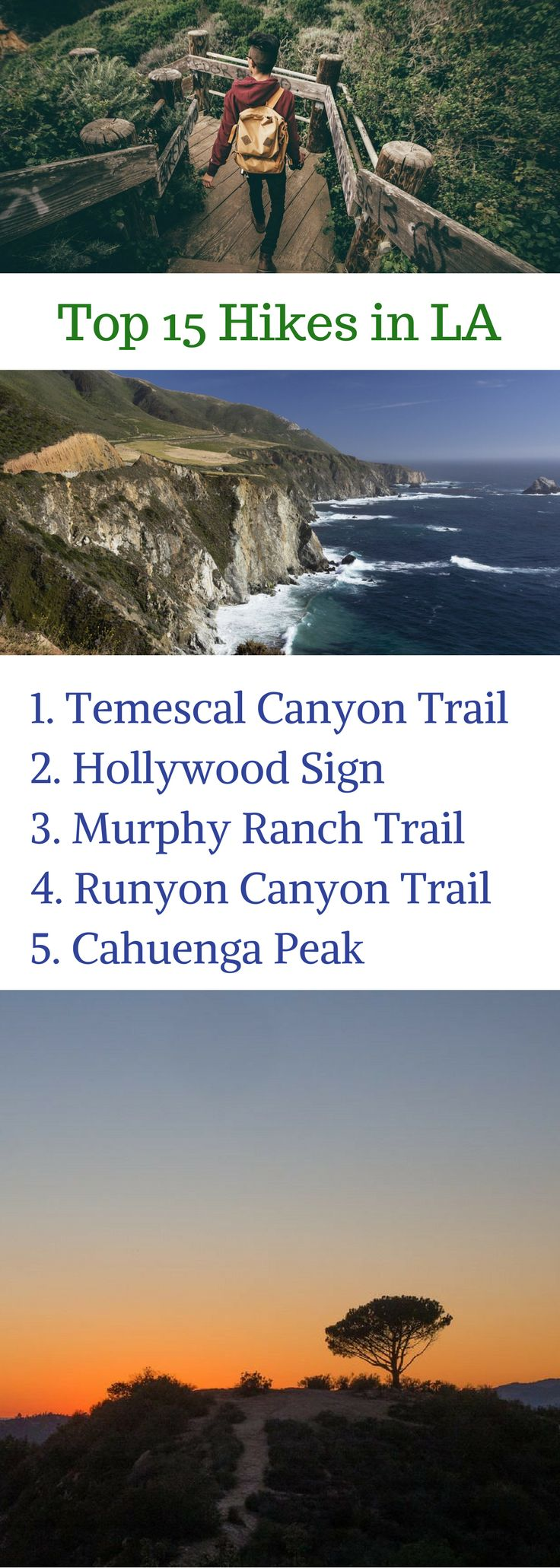 Looking for the best hikes in the LA area? From the Santa Monica mountains to the rolling Hollywood Hills, here are the top 15 hikes over all of Los Angeles! Click through to read about each hike, and choose one for your next adventure :)