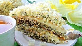 """""""Regina Esther"""" este un tort delicios cu mac și cremă gingașă de frișcă și lămâie. Acest desert nemaipomenit de frumos se pregătește foarte ușor și necesită cantități mici de făină și ulei. Blaturile ies ușoare"""
