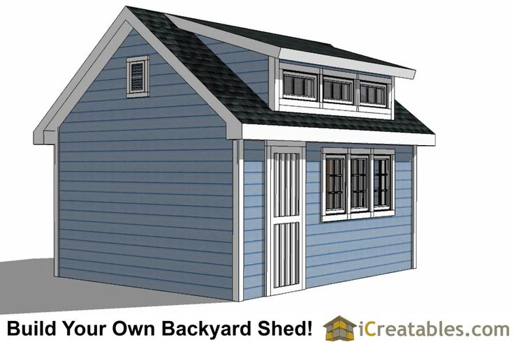 12x16 shed with dormer roof plans right