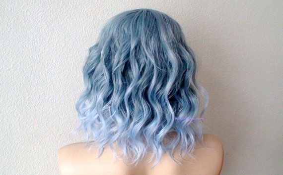Pastel blue ombre wig. Grayish blue / Light blue Ombre by kekeshop