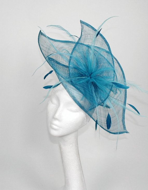 Dark Turquoise Fascinator Hat for Kentucky Derby, Weddings and Christmas Parties on a Headband