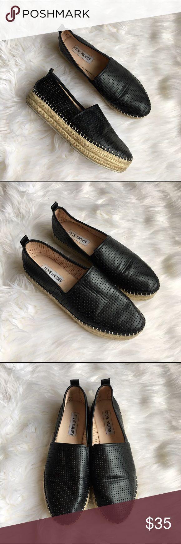 Steve Madden Flatform Peppa Espadrilles Lightly used, Steve Madden flatform Peppa Espadrilles in black perforated leather. Steve Madden Shoes Platforms