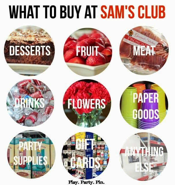 The best things to buy at Sam's Club for planning a party, great cheat sheet from playpartypin.com