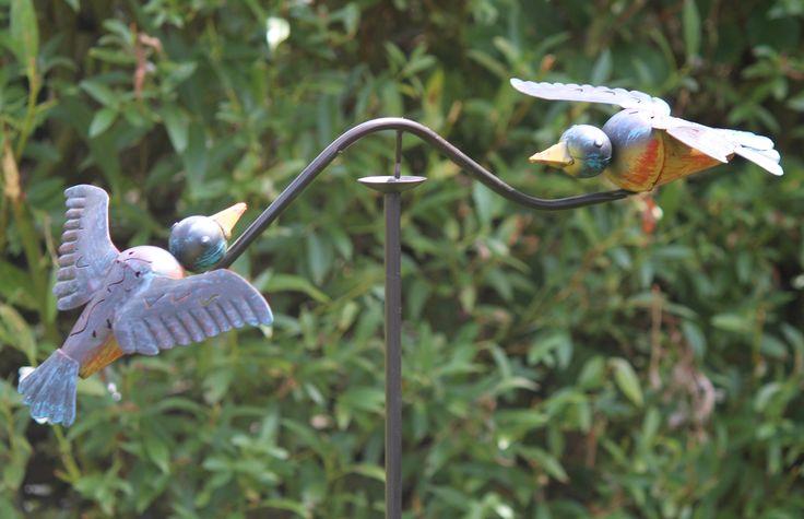 WS421 leuk windspel met 2 vogels blauw geel