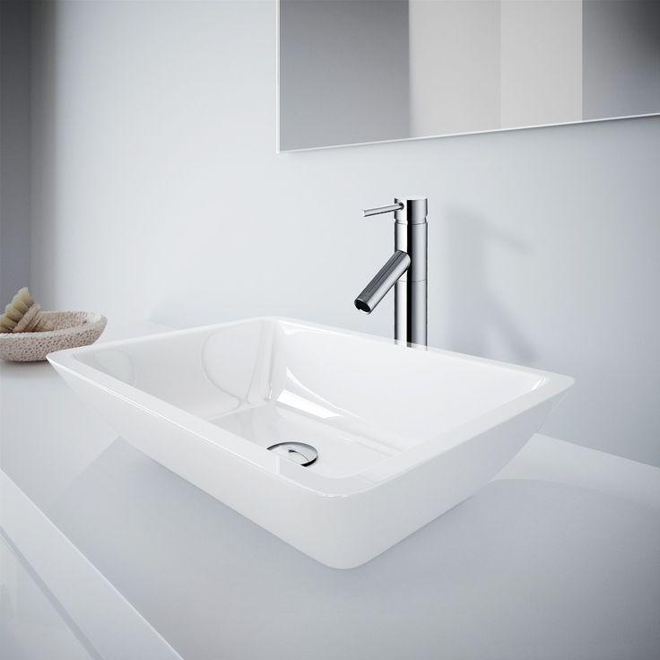 Vigo Medium Flat-Edged Rectangular Phoenix Stone Vessel Bathroom Sink And Dior Vessel Faucet Set