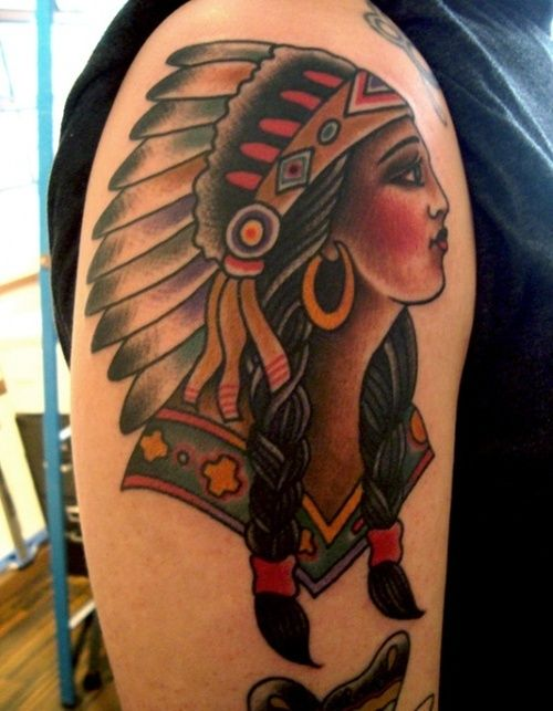 Traditional native american woman with a head dress tattoo for Native american woman tattoo